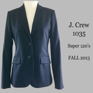 J CREW 1035 Super 120's Navy Pinstripe Blazer